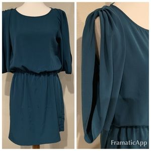 Teal gathered waist dress with open sleeves
